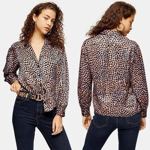 TOPSHOP Top Animal Print Smudge Blue Multicolored